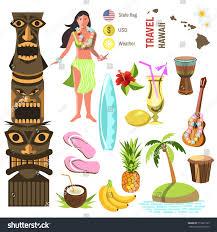 Image Of Hawaiian Flag Hawaiian Icons Symbols Set Stock Vector 519221365 Shutterstock