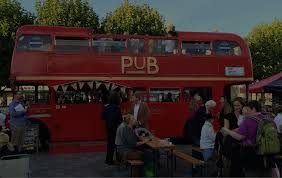 double decker party bus hop on inn mobile bus bar hire for events festivals and weddings