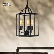 Black Metal Chandeliers Metal Cage Pendant Light Restaurant Bars Industrial Vintage