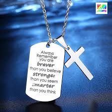 inspirational pendants necklace chain cross pendant inspirational jewelry quotes gift for
