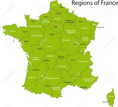 Bordeaux France Map Green France Map With Regions And Main Cities Royalty Free