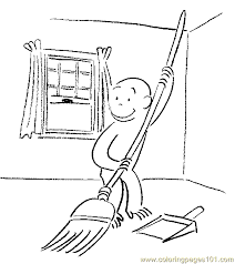 curious george sweep coloring free curious george coloring