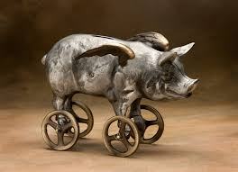 flying pig coin bank cast aluminum with bronze wheels