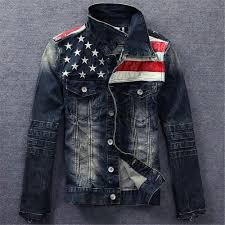 American Flag Hoodies For Men Fashion New Usa Design Mens Jeans Jackets American Army Style