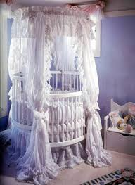 Purple Curtains For Nursery by Bedroom Brown Round Cribs With Ruffled Curtain And Blue Wall For