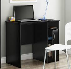 small writing desk black compact laptop home office tight spaces
