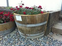 planters inspiring oak barrel planters oak barrel planters half