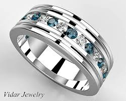blue diamond wedding rings mens wedding band platinum anniversary ring diamond unique