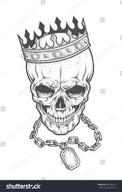 royalty free skull with crown and chain with a 305335511 stock