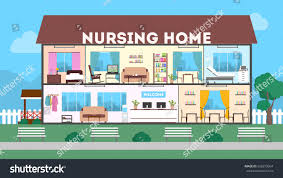 outside nursing home green landscape clinic stock vector 626879954