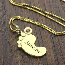childrens name necklace gold color baby necklace birthstone necklace engraved