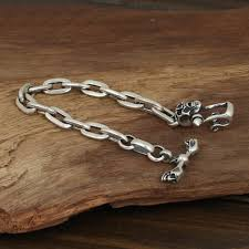 bracelet clasp images Men 39 s sterling silver skull clasp bracelet jpg