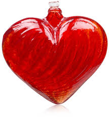 heart decorations home amazon com kitras 3 inch heart shaped glass ornament red