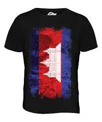 Cambodia Flag Cambodia Grunge Flag Mens T Shirt Tee Top Kampuchea Football