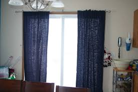 Grommet Drapes Patio Door Cream And Red Long Drapes On The Silver Steel Pole For Sliding