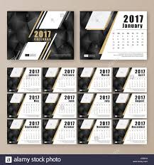 12 month desk calendar template for print design with dark polygon