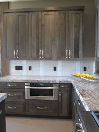 gray walls with stained kitchen cabinets shaker gray stained lowers with white uppers find a