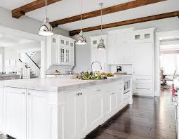 White Wood Ceiling by White And Gray Kitchen With Stained Wood Ceiling Beams