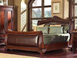 King Sleigh Bedroom Sets by 5 Pc Mandallay Ii Collection Brown Wood Finish Queen Sleigh