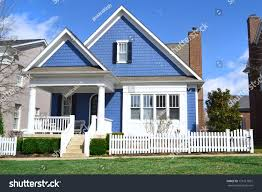 house with front porch blue white suburban american cape cod stock photo 121617061