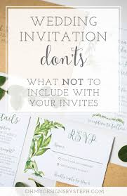 Abbreviation Of Rsvp In Invitation Card What Not To Include On Wedding Invitations Oh My Designs By Steph