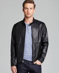 jacket moto vince leather moto jacket in black for men lyst