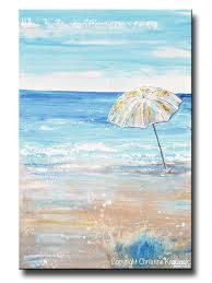 original art abstract painting beach umbrella sea blue home wall original art abstract painting beach umbrella ocean blue white beige sand coastal wall art decor 24x36