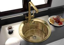 round gold stainless kitchen sink for elegant kitchen fixtures