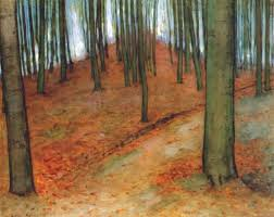 wood with beech trees by piet mondrian