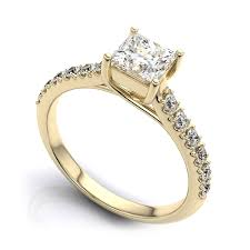 Princess Wedding Rings by Yellow Gold Engagement Rings With Side Stones