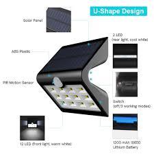 solar motion sensor outdoor light innogear 2nd version 14 led solar lights with rear projection