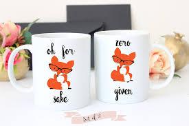 Best Coffee Mug Designs Amazon Com Oh For Fox Sake Coffee And Zero Fox Given Set Of 2