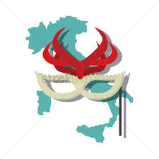Italian Map Italian Map With Carnival Mask Vector Image 1573355 Stockunlimited