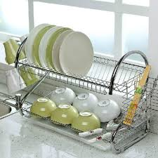 tray plates 2 tier chrome plate dish cutlery cup drainer rack drip tray plates