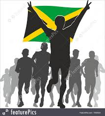 Jamiaca Flag Athlete With The Jamaica Flag At The Finish Illustration