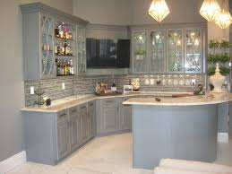 gray glazed kitchen cabinets