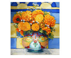 Mexican Kitchen Decor by Marigold Bouquet In Talavera Vase Mexican Kitchen Marigolds