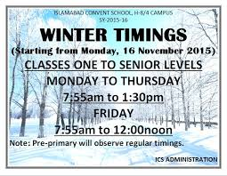 winter timings islamabad convent school h 8 4 cus