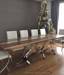 Stainless Steel Dining Table Modern Wood Dining Table Natural Edges Stainless Steel