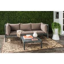 Curved Modular Outdoor Seating by Safavieh Lynwood Modular Ash Grey Outdoor Patio Sectional Set With