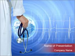 doctor holding stethoscope powerpoint template u0026 backgrounds id