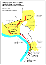 wvu evansdale map morgantown personal rapid transit prt