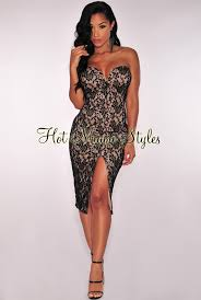 black lace illusion strapless padded knee length dress