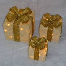 christmas present light boxes buy set of 3 light up light up gift boxes presents with gold