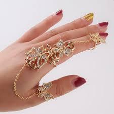 golden flower rings images Golden flower butterfly chain ring red box boutique jpg