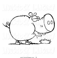 clip art of a coloring page outline of a chubby pig eating grass