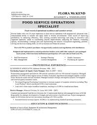 Resume Examples Food Service by Food Service Manager Resume Sample Free Resume Example And
