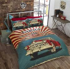 Red And Cream Duvet Cover Vintage Car American Flag Route 66 Red Cream Teal Single Duvet