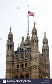 Flag Flown At Half Mast A Union Flag Is Flown At Half Mast At The Palace Of Westminster