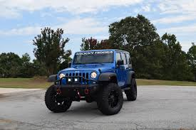 lifted jeep blue lifted jeep wrangler k2 package rocky ridge trucks